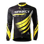 SPAKCT Bike/Cycling Jersey / Tops Men's Long Sleeve Breathable / Ultraviolet Resistant / Quick Dry / Wearable 100% Polyester StripeYellow