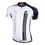 NUCKILY Bike/Cycling Jersey / Tops Men's Short Sleeve Breathable / Quick Dry / Front Zipper / Wearable 100% Polyester Patchwork WhiteS /
