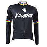 KOOPLUS Bike/Cycling Jersey / Tops Men's Long Sleeve Breathable / Quick Dry / Front Zipper / Thermal / Warm 100% Polyester BlackXS / S /