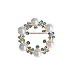 Fine jewelry gold plated pearl brooch for women