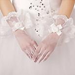 Wrist Length Fingertips Glove Satin/Tulle Bridal Gloves/Party/ Evening Gloves