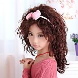 Capless Stylish Medium Asymmetrical Wave Children's Wig(Brown)