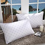 100% Cotton Geometric White Bed Pillow