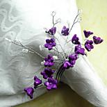 Purple Flower Acrylic Beads Napkin Ring, Dia4.2-4.5cm Set of 12
