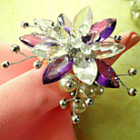 Country Flower Style Acrylic Beads Napkin Ring, Dia4.2-4.5cm Set of 12