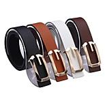 Unisex's Metal Buckle Faux Leather Belt (4 Colors)