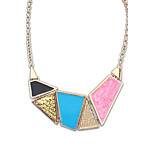 European and America Fashion Style (Geometry) Alloy Resin Chain Statement Necklace (1 pc)