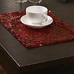 Red Polyester Rectangular Placemats