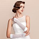 Elbow Length Fingerless Glove Satin/Tulle Bridal Gloves