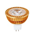 MR16 3W Dimmable 1W × 3LEDs 270-300LM 3000-3500K Warm lampadina di bianco LED Spot (DC12V)