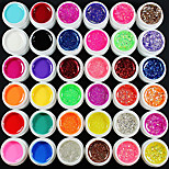 37CS Mixs Color UV Color Gel within 12 Pure+12 Glitter Hexagon Sheet+12 Glitter Powder+Cleanser Plus(Random Color)