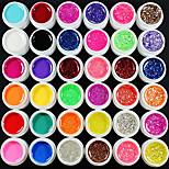 37CS Mixs Farben UV Color Gel innerhalb von 12 Reine +12 Glitter Hexagon Blatt 12 Glitter Powder + Cleanser Plus (zufällige Farbe)