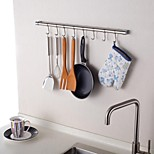 Stainless Steel Kitchen 24Inch Hanging Rod with 8 Hooks