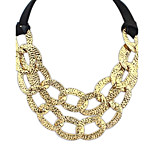 Women's European and America Alloy Cutout 2 Layers Personality Statement Necklace (Gold and Silver Color)(1 pc)