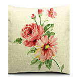 Country Showy Flowers Cotton/Linen Decorative Pillow Cover