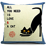 Country Black Cat Cotton/Linen Decorative Pillow Cover
