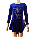 Girl's Blue Velvet Long Sleeves Figure Skating Dress(Assorted Size)