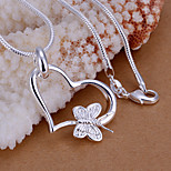 Fashion Butterfly Shape Heart Silver Plated Pendant (Silver)(1Pc)