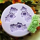 Three Flower Baking Fondant Cake Choclate Candy Mold,L6.1cm*W5.9cm*H0.9cm