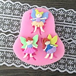 Three Girl with Wing Baking Fondant Cake Mold,L7.4cm*W6.7m*H1cm