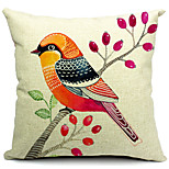 Colorful Bird Cotton/Linen Decorative Pillow Cover