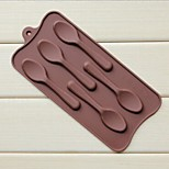 5 Hole Spoon Shape Cake Ice Jelly Chocolate Molds,Silicone 22.5×10.5×1 CM(8.9×4.1×0.4 INCH)