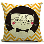 Clever Cat Cotton/Linen Decorative Pillow Cover