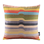 Rainbow Irregular Stripe Cotton/Linen Decorative Pillow Cover