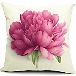 Flower Cotton/Linen Decorative Pillow Cover