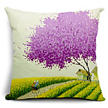 Spring Scenery Cotton/Linen Decorative Pillow Cover