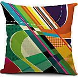 Country Geometric Striped Cotton/Linen Decorative Pillow Cover