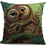 Cartoon Owl Cotton/Linen Decorative Pillow Cover