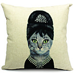 Mrs Cat Cotton/Linen Decorative Pillow Cover