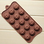 15 Hole Sunflower Shape Cake Ice Jelly Chocolate Molds,Silicone 22×10.5×1.5 CM(8.7×4.1×0.6 INCH)