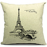 Cotton/Linen Pillow Cover , Eiffel Tower Modern/Contemporary