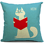Country Cute Cat Cotton/Linen Decorative Pillow Cover