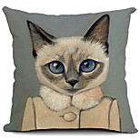 Cartoon Beautiful Cat Cotton/Linen Decorative Pillow Cover