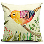 Country Lovely Bird Cotton/Linen Decorative Pillow Cover