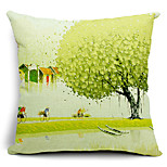 Cycling on Village Alley Cotton/Linen Decorative Pillow Cover