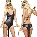 Sexy Catwoman Leotard Black Polyurethane Leather Halloween Costume