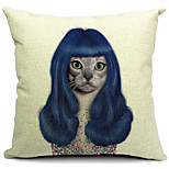 Cartoon Charming Cat Cotton/Linen Decorative Pillow Cover