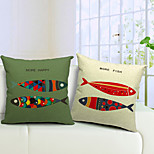 Set of 2 Cartoon Fishes Cotton/Linen Decorative Pillow Cover