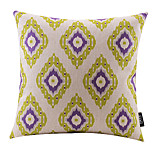 Purple and Green Rhombus Cotton/Linen Decorative Pillow Cover