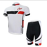 XAOYO Men's Breathable Polyester Short Sleeve Cycling Suit - White + Black