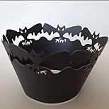 Halloween Bat Cupcake Wrapper,Laser Cut,Party Favor Decoration 60pcs