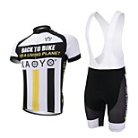XAOYO Men's Breathable Polyester Short Sleeve Cycling Bib Suit-Yellow+Black