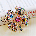 Lucky Doll  Diamonade Gemstone & Crystal Zirconia Four Leaved Colorful Brooch