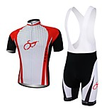 XAOYO Men's Breathable Polyester Short Sleeve Cycling Bib Suit-Red+Black