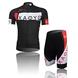 XAOYO Men's Breathable Polyester Short Sleeve Cycling Suit-Black+White
