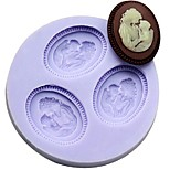 Mother and Son Fondant Cake Chocolate Resin Clay Candy Silicone Mold,L6m*W6cm*H1cm
